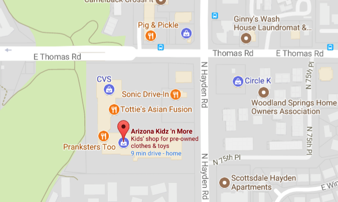 Map showing new AZ Kidz n More location