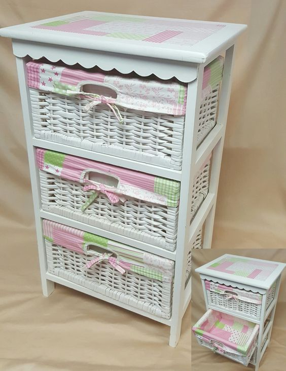 Pink wicker dresser