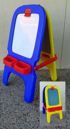 Blue and yellow plastic Crayola easel