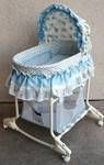 Blue bassinet with wheels